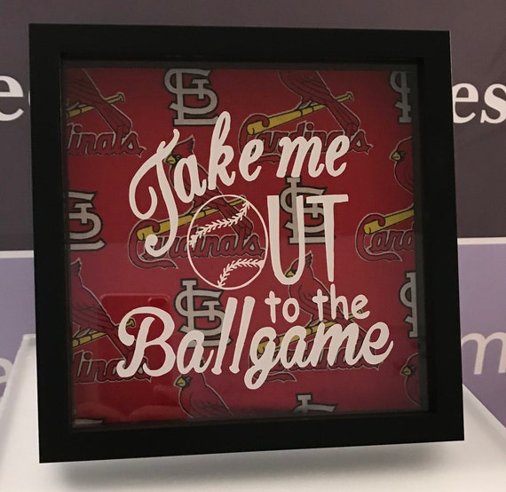 "8"" x 8"" Memory Shadow Box frame, "" Take me out to the ballgame St. Louis Cardinals""/Mother's Day/Father's Day/Home Decor"