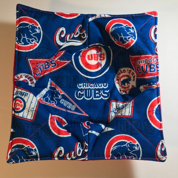 Bowl cozy microwavable, Chicago Cubs MLB, hot pad, Quilted, reversible, pot holder, cozie or trivet.