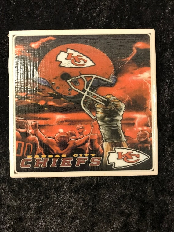 Kansas City Chiefs/ Ceramic Drink Coaster/ Beer Mat/ Home Bar Accessories/ BBQ Tools