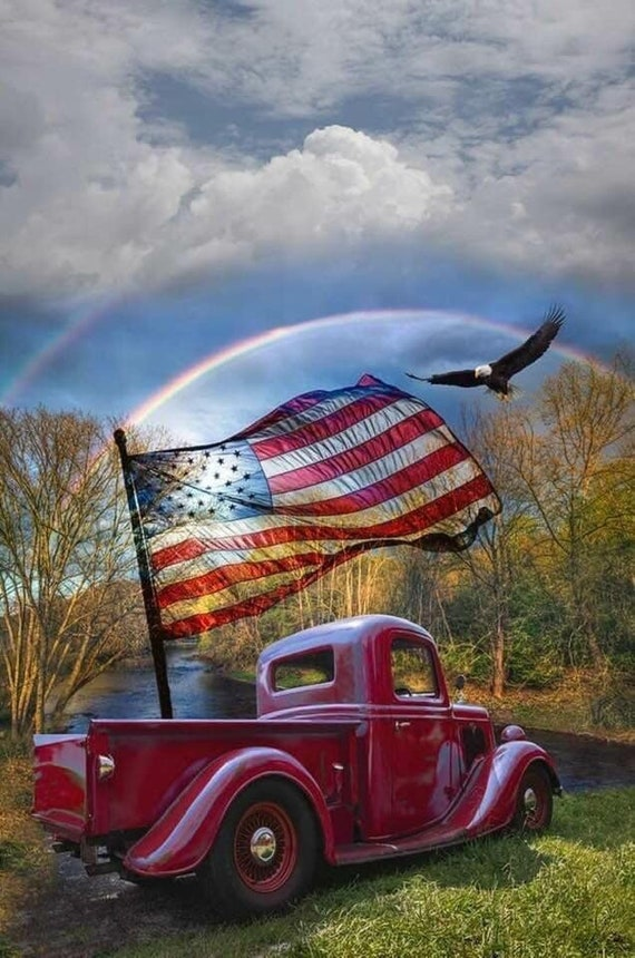 God and Country/USA/Old Red Truck Art/ Coaster Tile Set/ Hostess Gift/ Home Bar