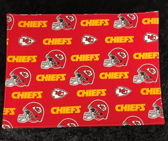 Placemats, set of 4,  Kansas City Chiefs, Table Setting, Table Linens, Sports Fan, Gift for Him