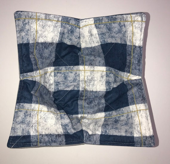 Microwavable bowl cozie, Wonder Plaid,Navy Winter Plaid, Quilted, reversible, pot holder, cozy or trivet.