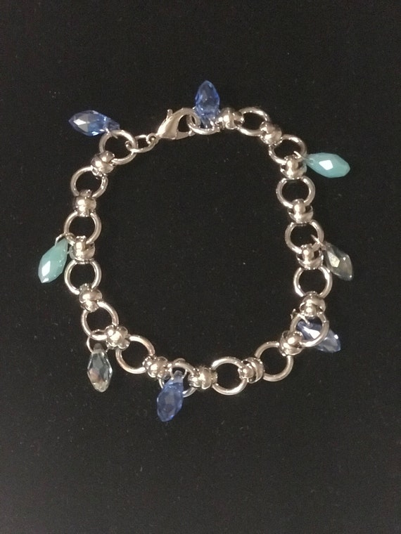 "Charm Bracelet Silver 8"" ,Tear Drop faceted Glass Charms,Gift,Handmade"