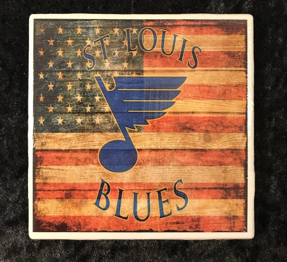 St. Louis Blues Coaster with American Flag/ Let's Go Blues/ Art/ Blue Note Fan/ NHL