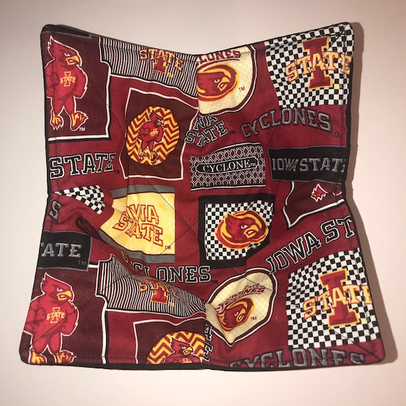 Microwave bowl cozy, Iowa State Cyclones, Quilted, pot holder, Soup Bowl, Ice Cream Bowl, Plate Cozy