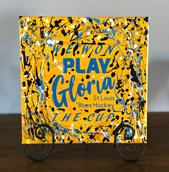 St. Louis Blues Play Gloria Stanley Cup /Jackson Pollock Style Drip Art Abstract Painting Wall or Table  Original artwork acrylic painting
