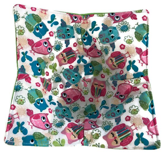 Bowl cozy, microwavable, Multi Colored Owls, Quilted, pot holder, hot pad, cozie or trivet.