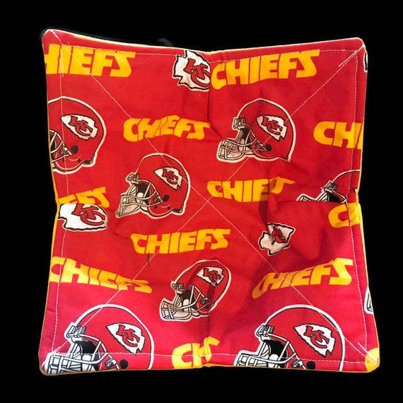 Kansas City Chiefs microwavable bowl cozy, Quilted, pot holder, cozie, hot pad or trivet.