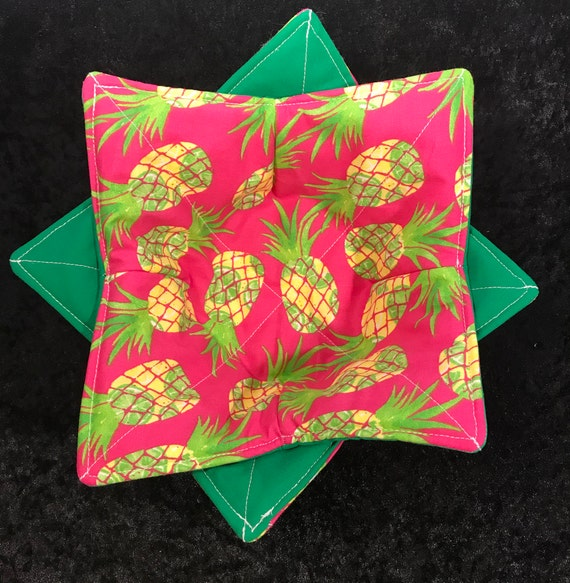 Microwave Bowl Cozy- Tropical Pineapple and Limes- Bowl Pot Holder, Housewarming Gift, Gift Ideas, Bowl Cozy