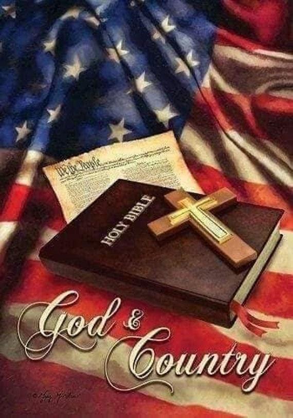 God and Country/USA/ Art/ Coaster Tile Set/ Hostess Gift/ Home Bar
