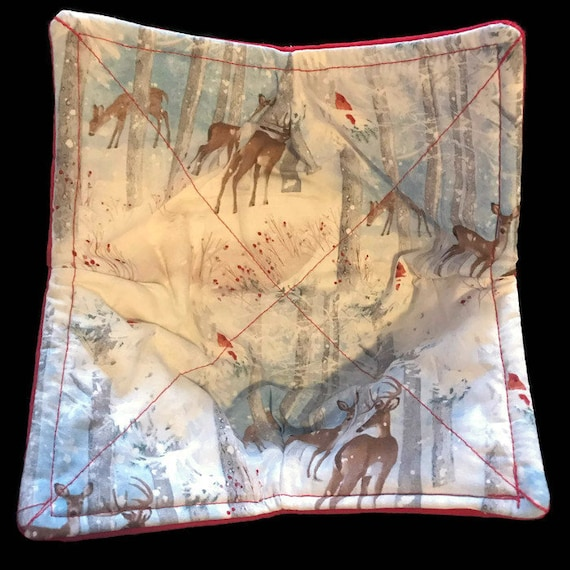 Microwavable bowl cozie, winter, snow, deer, christmas, Quilted, reversible, pot holder, cozy or trivet.
