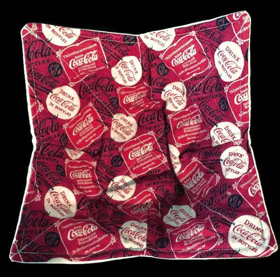 Microwavable bowl cozy, Coca-Cola design, Quilted, pot holder, cozy or trivet.