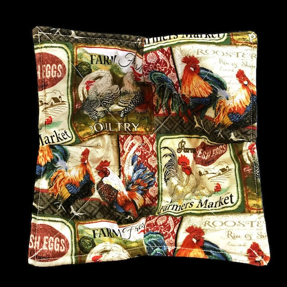 Microwavable bowl cozy,Farmer's Market Fresh Eggs, Fresh Poultry, Rooster and Hens, Quilted, pot holder, cozy or trivet.