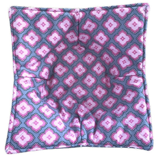 Bowl cozy, microwavable, Pink and Gray Diamonds, everyday, Quilted, reversible, pot holder, cozie, hot pad or trivet.