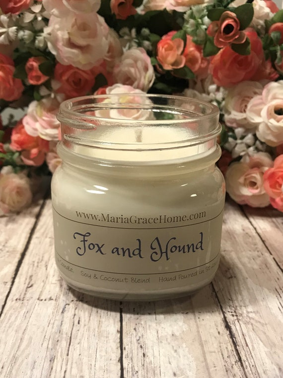 Candle| Soy Blend| Fox and Hound Scented 8 oz Jar | Home Decor | Gift | Aromatherapy Candles | Housewarming Gift | Scents for Men