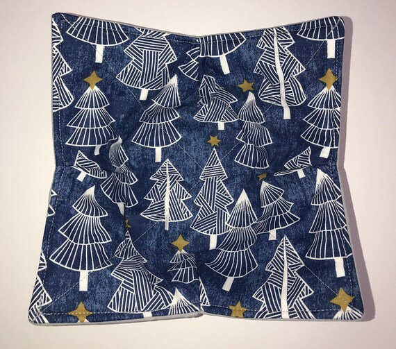 Microwavable bowl cozie, Wonder Trees ,Navy Winter Quilted, reversible, pot holder, cozy or trivet.