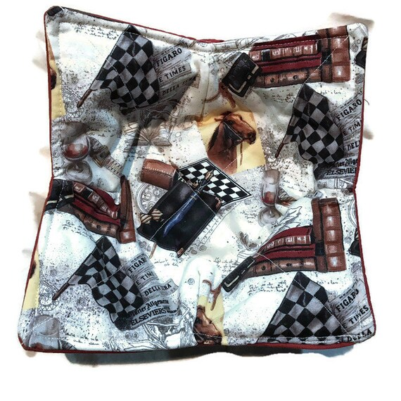 Microwavable Bowl cozy, At The Race, Quilted, pot holder, cozy or trivet.