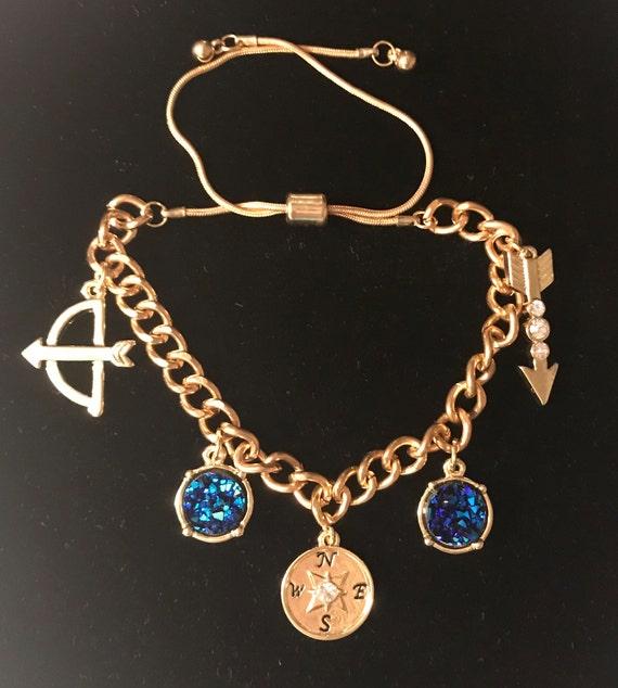 Adjustable Curb Chain Gold Bracelet, Mystic Gypsy Charms, BOHO, Druzy Stone