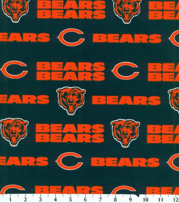 Chicago Bears Fabric Baseball NFL -100% Cotton-By Fabric Traditions-Quilts-Home Decor-Licensed Fabric