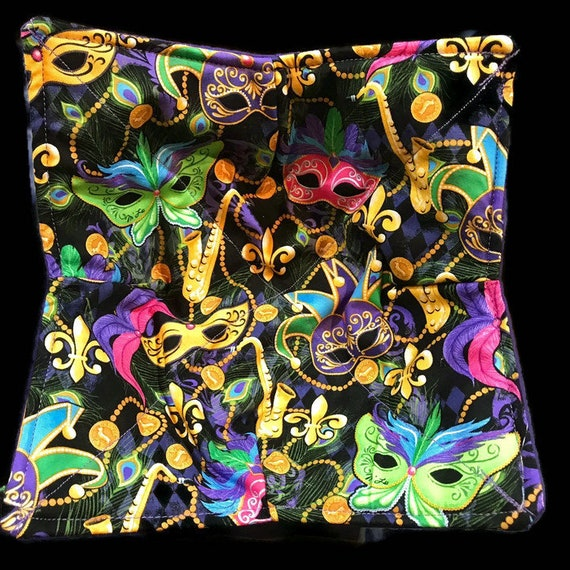 Microwavable bowl cozy, Mardi Gras, NOLA Quilted, pot holder, cozy or trivet.