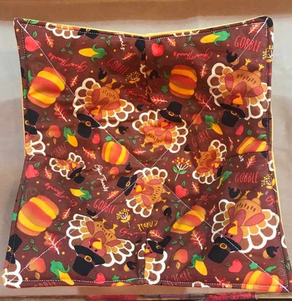 Microwavable bowl cozie, Give Thanks, Thanksgiving, corn, turkey, pumpkins, Fall, Quilted, reversible, pot holder, cozy or trivet.