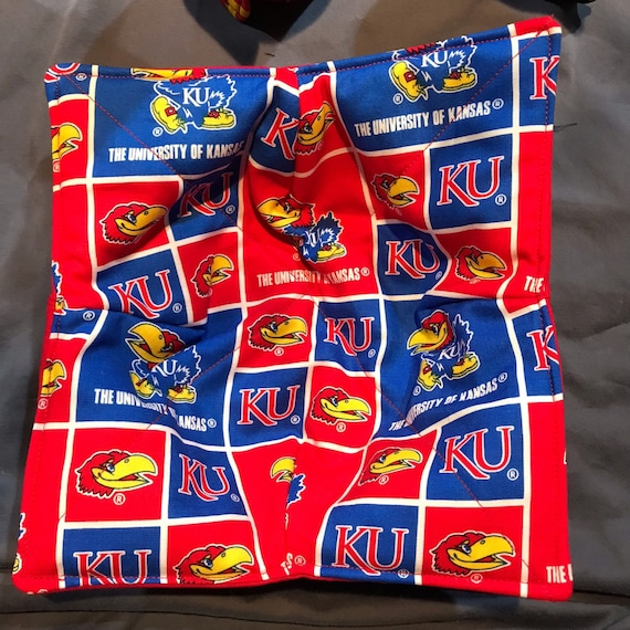 Microwavable bowl cozy, University of Kansas, KU, Quilted, pot holder, cozy or trivet.