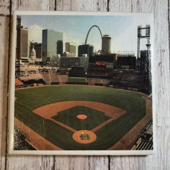St. Louis Cardinals Busch Stadium/ Art/ Coaster Tile Set/ Cardinals Fan/ MLB/ Hostess Gift/ Home Bar