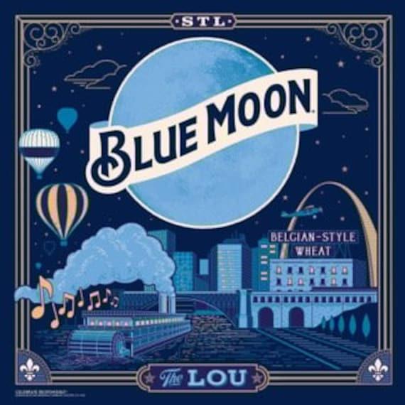 Blue Moon St. Louis/ Art/ Coaster Tile Set/ Beer/ Hostess Gift/ Home Bar