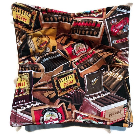 Bowl cozy microwavable, classic cigars, hot pad, Quilted, pot holder, cozie or trivet.