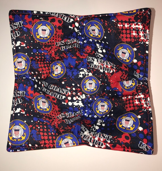 Microwavable bowl cozy, US Coast Guard, Military,  Quilted, pot holder, cozy or trivet.