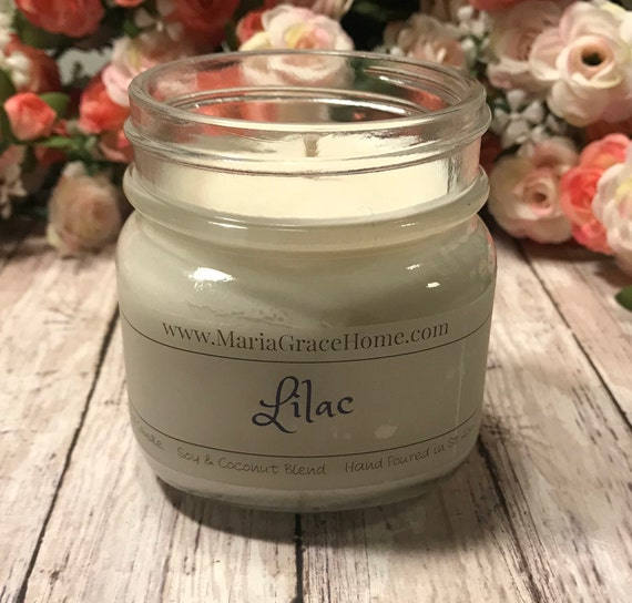 Candle| Soy Blend| Lilac Scented 8 oz Jar | Home Decor | Gift | Aromatherapy Candles | Housewarming Gift | Floral Scents