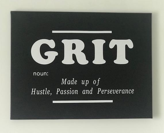 Grit Noun Quote Wall Art Canvas Print, Inspirational, Motivational Office Decor, Home Decor