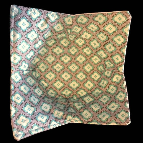 Bowl cozy microwavable, Teal and Gray Diamonds everyday, hot pad, Quilted, reversible, pot holder, cozie or trivet.