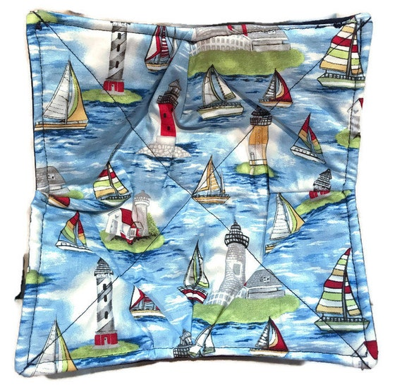 Bowl cozy microwavable, Sailboats and lighthouses, hot pad, Quilted, pot holder, cozie or trivet.