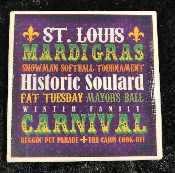 Historic Soulard Mardi Gras Coaster/ St. Louis Mardi Gras/ Bar Warare/ Art