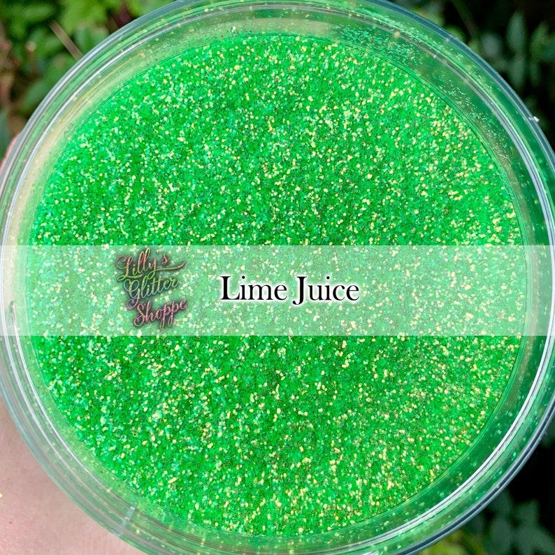Iridescent Lime Green Raindrop Beaded Curtain: Lime Green Iridescent Transparent Fine Glitter Gold Green