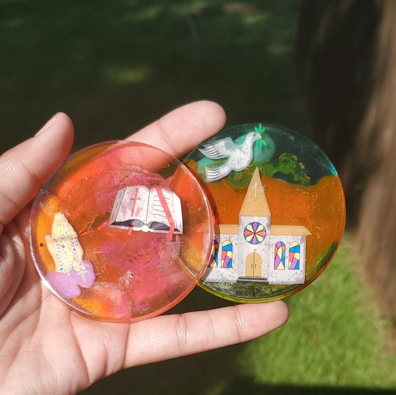 Colorful Coaster Set Round Coaster Set Religious Coaster Set Rainbow Coaster Set Church Coaster Set