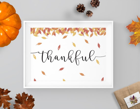 graphic regarding Thankful Leaves Printable called Grateful Printable, Watercolor, Leaves Drop Print, Drop Printable, Property Decor, Wall Artwork Printable, Fast Obtain, Wall Decor, Calligraphy