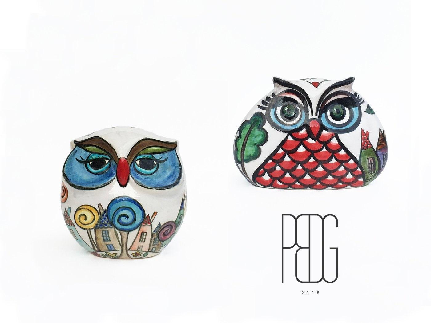 Hand Painted Ceramic Owl Home Decor Owl Ceramic Sculpture