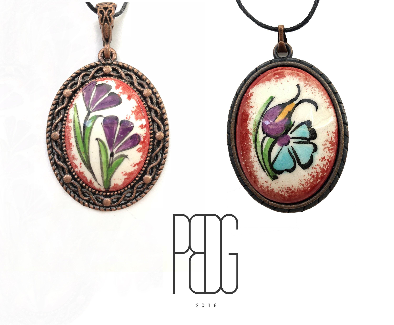 Purple Tulip and Blue Vervain/ Two Purple Vervains Handmade