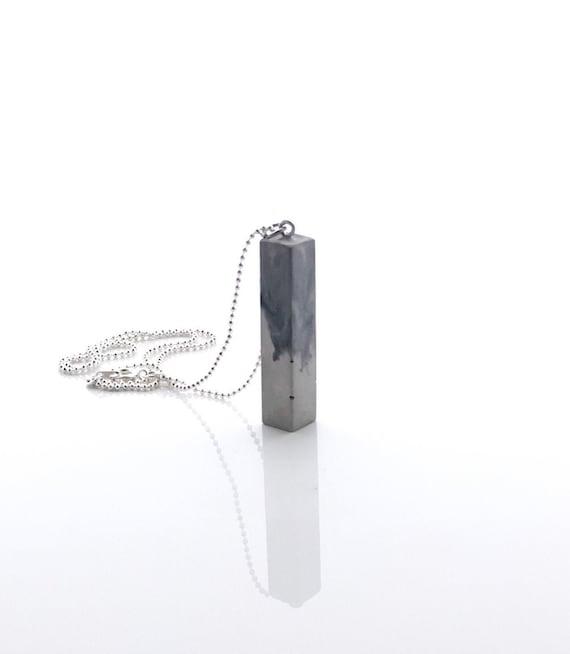 Silver Shine on White Square Concrete Pendant Necklace Shiny Concrete Necklace Urban Jewelry Unisex Jewelry