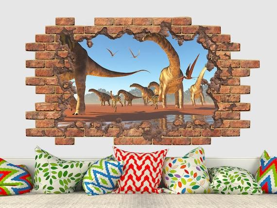 Dino dinosaur Wall Crack Kids Boy Girls Bedroom Decal Sticker Gift Xmas