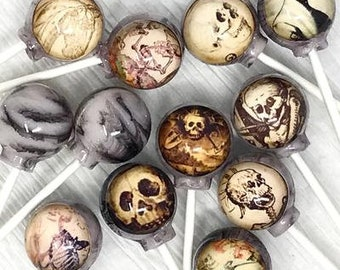 Haunted Skeleton edible image set of 6 lollipops by I Want Candy