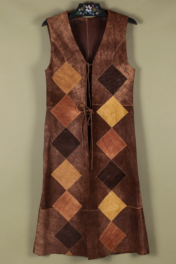 Patchwork Suede Long Vest