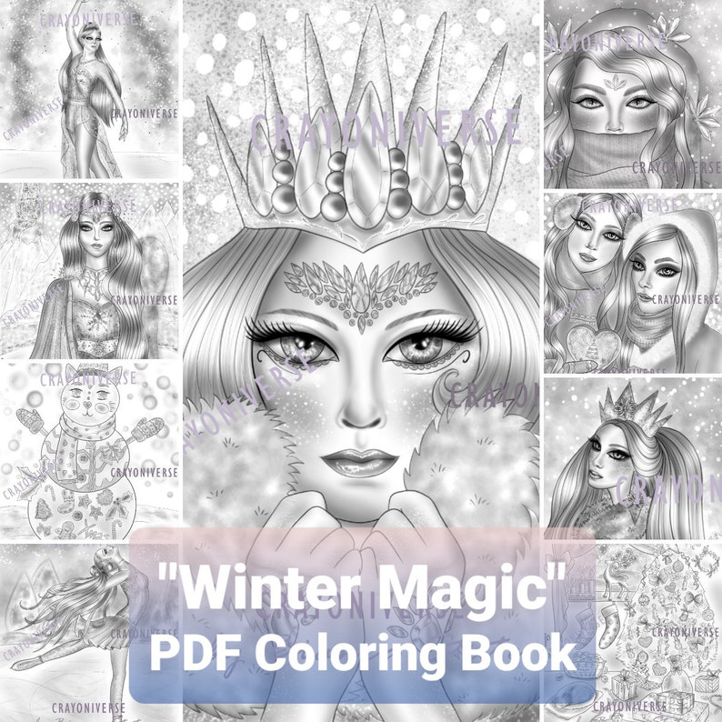 PDF Coloring Book Winter Magic Grayscale by Bianca image 0