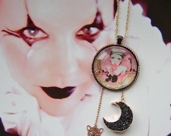 pierrot pendant  eco dangle drop hip hop 80s clown sad face flower girl jewellery necklace art deco vintage kitsch pretty handmade mod