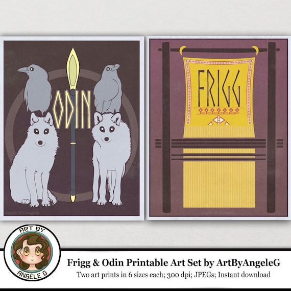Frigg and Odin Retro Poster Print Set, set of two prints, PRINTABLE wall  art, Norse mythology, Digital download, Art by Angele G, wolf art