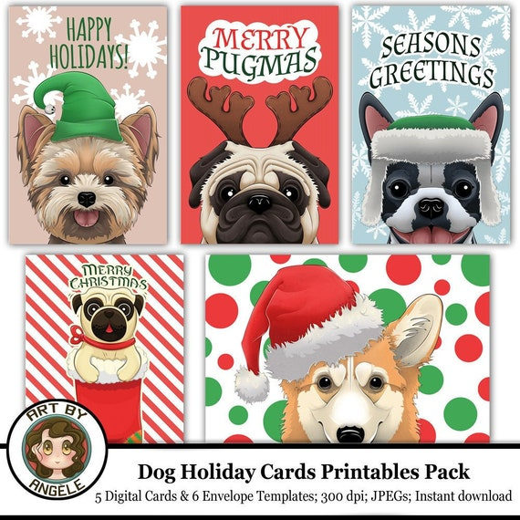 YORKSHIRE TERRIER PACK OF 4 CARDS DOG PRINT GREETING CHRISTMAS CARDS