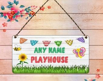 SIGNS GIRLS PERSONALISED PLAYHOUSE FLOWERS