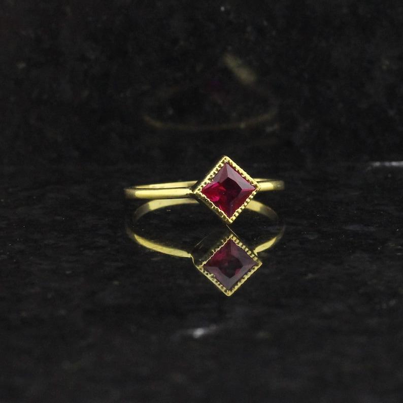 ZR308 July birthstone princess cut red gemstone anniversary gift Lab ruby ring engagement ring,14k gold princess cut